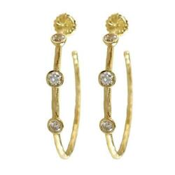 Large Organic Hoop Earrings With Cubic Zirconias In 14k Yellow Gold