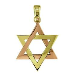 Mens Large Jewish Star Of David Charm In 14k Yellow And 14k Pink Gold