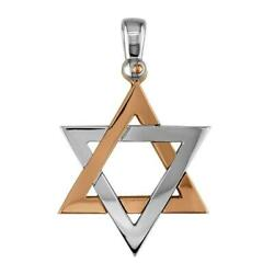 Mens Large Jewish Star Of David Charm In 14k White And 14k Pink Gold
