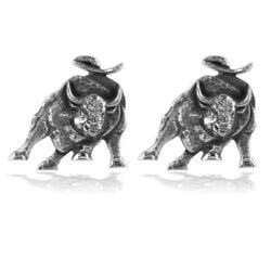 Wall Street Charging Bull Cufflinks With Black In 14k White Gold