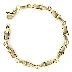 Mens Designer Shackle And Oval Links Bracelet In 14k Yellow Gold 8.5 Inches