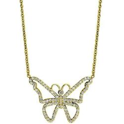Diamond Butterfly Necklace In 14k Yellow Gold 0.75ct