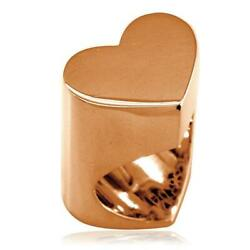 Large Flat Heart Ring In 14k Pink Gold