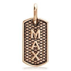 Python Reptile Texture Dog Tag Pendant With Max Or Any Name In 18k Pink Rose Go