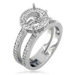 Diamond Halo Engagement Ring Setting In 18k White Gold 0.60ct