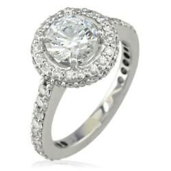 Diamond Halo Engagement Ring Setting 0.70ct Sides In 14k White Gold