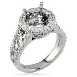 Vintage Style Diamond Halo Engagement Ring Setting In 18k White Gold 0.71ct