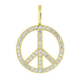 Large Diamond Peace Sign Pendant 0.75ct In 18k Yellow Gold