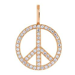 Large Diamond Peace Sign Pendant 0.75ct In 18k Pink Rose Gold