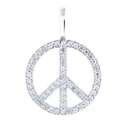 Large Diamond Peace Sign Pendant 0.75ct In 18k White Gold