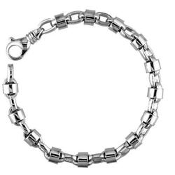 Mens Oval Link Bracelet With Round Jackets In 14k