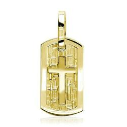 Smaller Size Cross Dog Tag Pendant With Crosses Background In 18k Yellow Gold