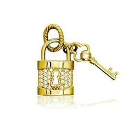 Diamond Lock And Key Charm, Solid Lock In 14k Yellow Gold