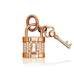 Diamond Lock And Key Charm, Solid Lock In 14k Pink, Rose Gold
