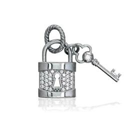 Diamond Lock And Key Charm, Solid Lock In 14k White Gold
