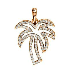 Small Open Diamond Palm Tree Pendant 0.50ct In 18k Pink Gold