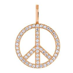 Large Diamond Peace Sign Pendant 0.75ct In 14k Pink Rose Gold