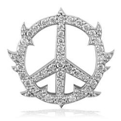 Medium Diamond Guarded Peace Sign Charm, 0.75ct, One Inch In 14k White Gold