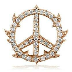 Medium Diamond Guarded Peace Sign Charm 0.75ct One Inch In 14k Pink Rose Gold