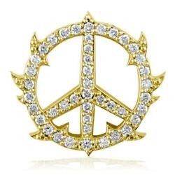 Medium Diamond Guarded Peace Sign Charm, 0.75ct, One Inch In 14k Yellow Gold