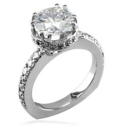 Round Diamond Halo Engagement Ring Setting In 14k White Gold 0.55ct Sides