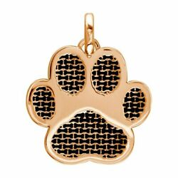 Jumbo Dog Paw Charm With Black In 14k Pink Rose Gold
