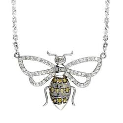 Yellow And White Diamond Bee Pendant Necklace In 14k White Gold