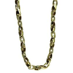 Mens Long Twisted Bullet Link Chain In Bronze