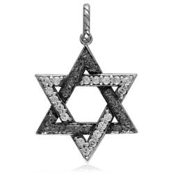 Large Jewish Star Of David Charm With Cubic Zirconias And Black Stone Design In