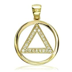 Diamond Aa Alcoholics Anonymous Sobriety Pendant 0.40ct In 14k Yellow Gold