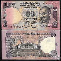India 50 Rupees P90 B Or D Or F 1997 Solid 222222 Gandhi Tiger Unc Bank Note