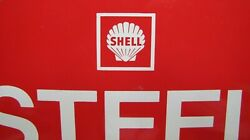1960s Shell Tire Advertising Sign Steel Radial Gas Station Auto Tire Insert Oil