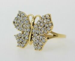 14k Yellow Gold Butterfly Ring With Cubic Zirconias
