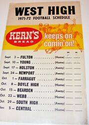 Vtg West High School Knoxville Tennessee Wall Football Schedule 1971 Kerns Bread