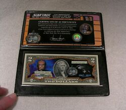 Lt. Worf Star Trek 2 Bill And Half Dollar Colorized Uncirculated Authentic