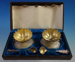 By Whiting Sterling Silver Salt Set 4pc 2 Cellars 2 Spoons 2700