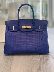 BRAND NEW EXOTIC HERMES BIRKIN 30cm CROC CROCODILE ALLIGATOR ELECTRIC BLUE
