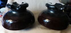 Pair Antique Large Brown Stoneware Insulators A B Chance Co Early 1900s