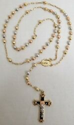 14k Tested Tri-color Gold Rosary Beads, Virgin Mary, And Jesus Crucifix Necklace