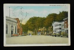 1934 The Square Antique Cars Stores Boonville Ny Oneida Co Postcard New York