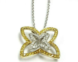 1 Ctw Natural Yellow Diamond Solid 14k 2-tone Gold Butterfly Pendant Necklace