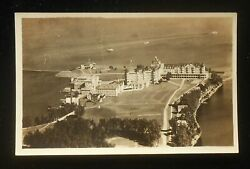 Rppc 1920s Aerial View Mt. Kineo House Boats On Lake Mount Kineo Me Piscataquis