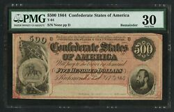 Csa T-64 500 1864 Remainder Note Very Scarce Pmg 30 Vf+ Deep Red Color Wlm9479
