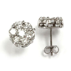 2 Ctw Natural Diamond Solid 14k White Gold 7 Stone Flower Cluster Studs 10 Mm