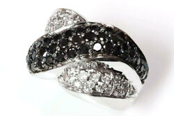 2.25 Ctw Natural Black Diamond Solid 14k White Gold Crossover Statement Ring