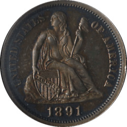 1891-p Seated Liberty Dime Ngc Pf65 Proof Old Holder Nice Strike