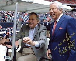George H.w. Bush And Robert Kraft Authentic Signed 8x10 Photo Bas A05127