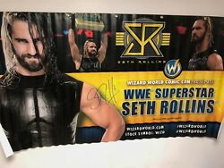 WWE Seth Rollins Autographed Vinyl banner from Wizard World 6 foot by 3 foot