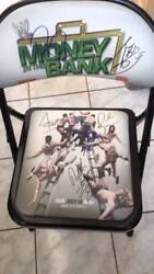 WWE Money in the Bank chair signed: Roman Reigns Alberto Del Rio Seth Rollins