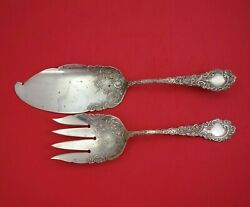 Louvre By Wallace Sterling Silver Fish Serving Set 2-piece 11 1/2 Antique